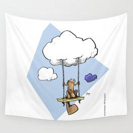 Squirrel swinging on a cloud Wall Tapestry