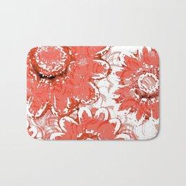 Big Flowers In Shades Of Peach Bath Mat