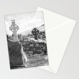 Halloween Graveyard | Horror | Black and White Cemetery | Gothic Graves | Stationery Cards