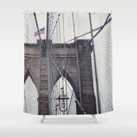 brooklyn bridge Shower Curtains featuring Brooklyn Bridge by Kameron Elisabeth