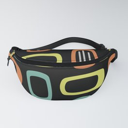 Midcentury MCM Rounded Rectangles Black Chartreuse Turquoise Orange Fanny Pack