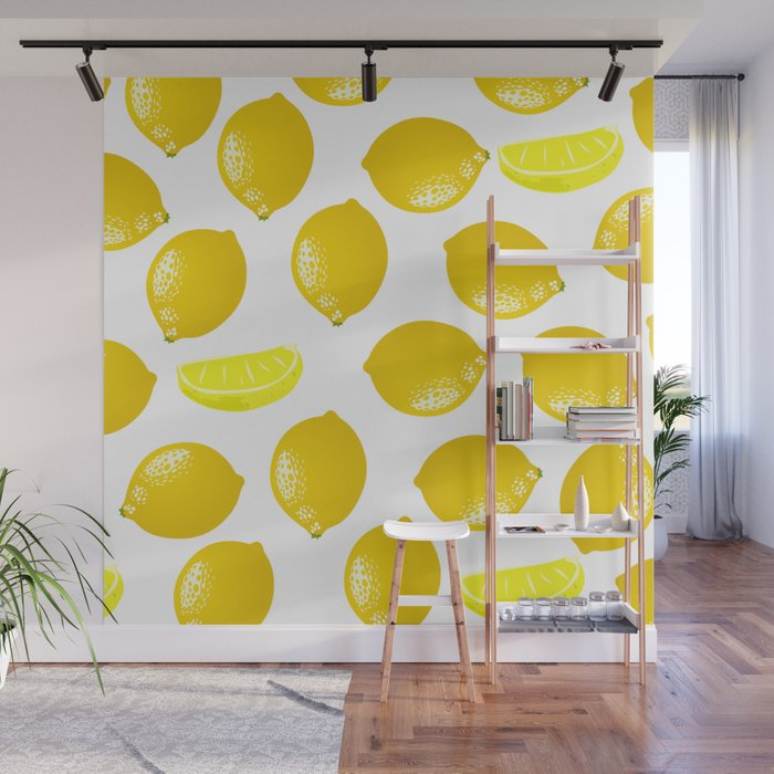 Amazing Lemon Pattern Home Decor Wall Hanging Art Print Modern Graphic Design  Yellow White Interior Wall Mural