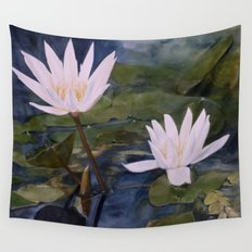 Water Lily Landscape Watercolor Nature Art Wall Tapestry