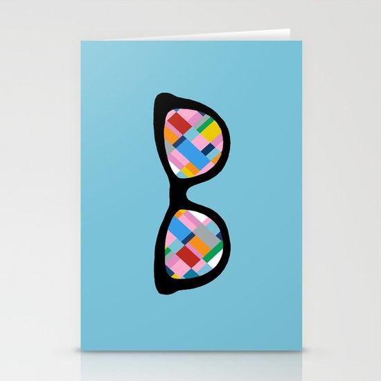 Map 45 Glasses on Sky Blue Stationery Cards