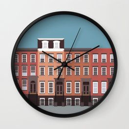 West Village, New York, NYC Travel Poster Wall Clock
