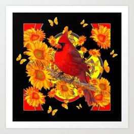 BUTTERFLIES  RED CARDINAL SUNFLOWERS BLACK ART Art Print