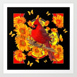 BUTTERFLIES  RED CARDINAL SUNFLOWERS BLACK ART Art Print