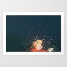 lights, rain, silence. Art Print