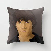 sam winchester Throw Pillows featuring Sam Winchester by siddick49