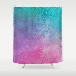Watercolor Geometric Silver Pattern Art Shower Curtain