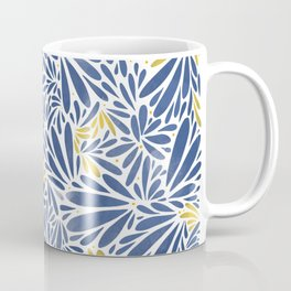 Floral pattern in blue and yellow Coffee Mug