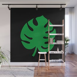 Philodendrons Pattern - Green on Black Wall Mural