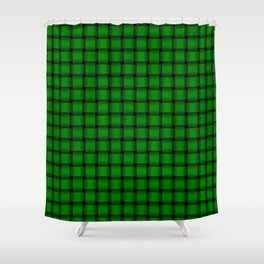 Small Green Weave Shower Curtain