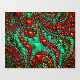 Abstract Gems in Aqua and Red Canvas Print