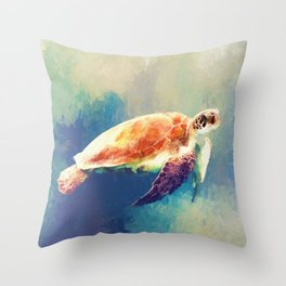 Sea Turtle Painting Throw Pillow