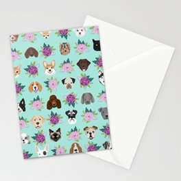 Dogs and cats pet friendly floral animal lover gifts dog breeds cat ladies Stationery Cards