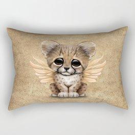 Cute Baby Cheetah Cub with Fairy Wings Rectangular Pillow