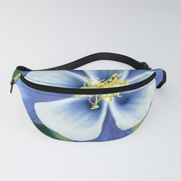 Colorado Columbine // States Flower Close up Purplish Blue Petals White and Yellow Accents Fanny Pack