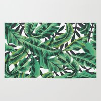 forest Area & Throw Rugs featuring Tropical Glam Banana Leaf Print by Nikki