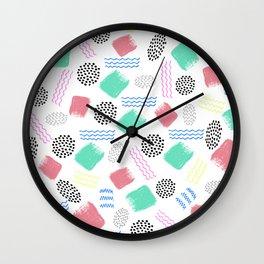 Geometrical pink teal black Memphis 80's pattern Wall Clock