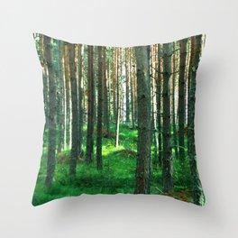 Green Forest Throw Pillow
