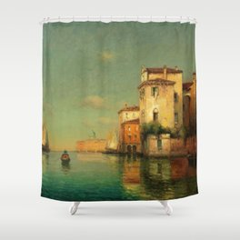 Gondolier on a Venetian Canal landscape painting by Antoine Bouvard Shower Curtain