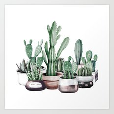 Cactus + Succulents Rose Gold Pattern by Nature Magick Art Print