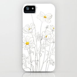 white cosmos flowers  ink and watercolor iPhone Case