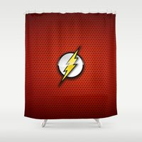 flash Shower Curtains featuring FLASH by neutrone