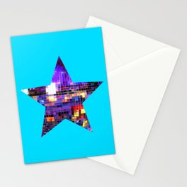 Mirrored Purple Disco Ball Star Stationery Cards