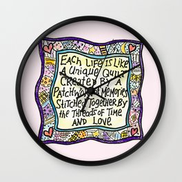 Quilt Quote Pink Wall Clock
