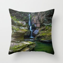 Picture USA Ricketts Glen State Park Crag Nature Waterfalls park Moss Rock Cliff Parks Throw Pillow