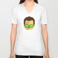 green lantern V-neck T-shirts featuring Green Lantern by Oblivion Creative