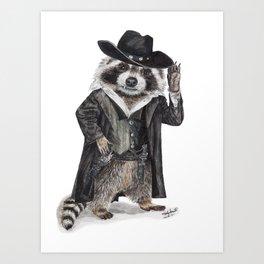 """ Raccoon Bandit "" funny western raccoon Art Print"