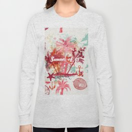 Tropical paradise. Pink palms and coconuts Long Sleeve T-shirt