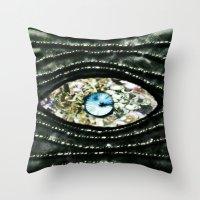 evil eye Throw Pillows featuring Evil Eye by Lilly Guastella