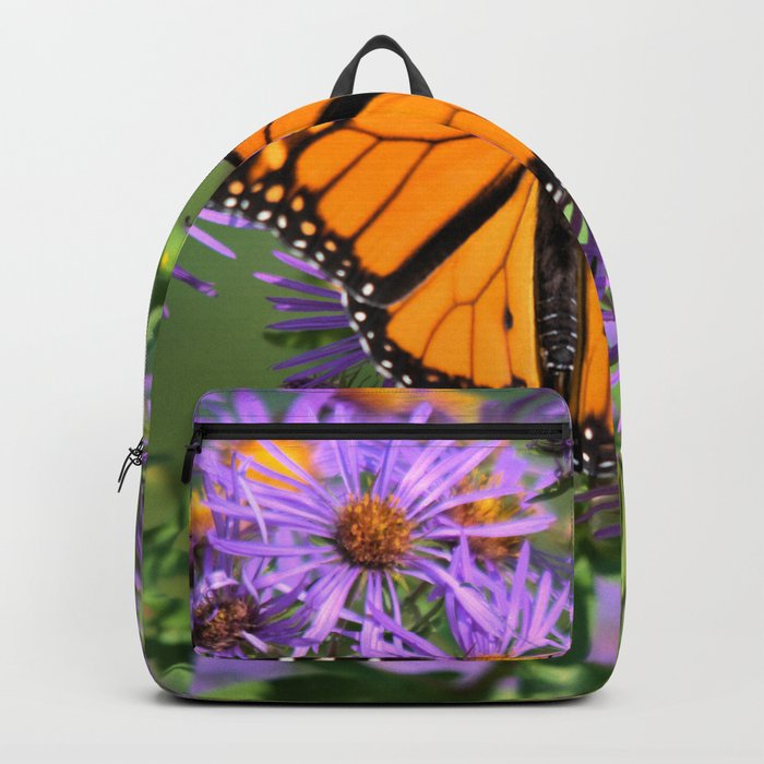 Monarch Butterfly on Wild Aster Flower Backpack