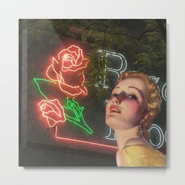 Red Neon Rose Metal Print