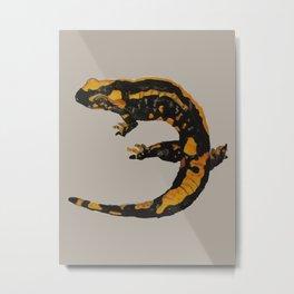 Watercolor drawing of a fire salamander Metal Print