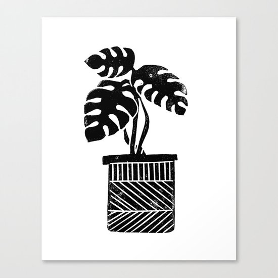 Linocut cheese plant monstera tropical leaf lino print black and white illustration art home dorm  Canvas Print