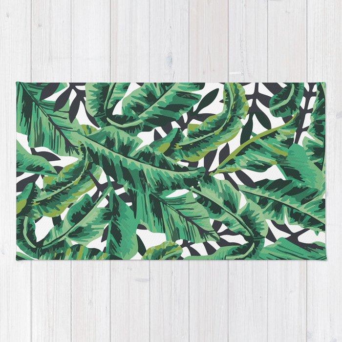 Tropical Glam Banana Leaf Print Rug By Boltsandglitter