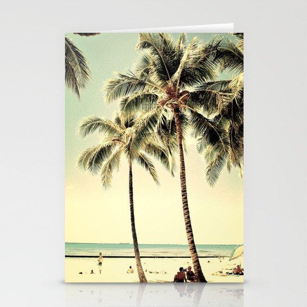retro vintage palm tree with hawaii summer sea beach stationery