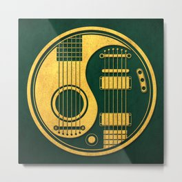 Vintage Green and Yellow Acoustic Electric Guitars Yin Yang Metal Print