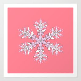 Pink Coral Colored Snowflake Pattern Design Art Print