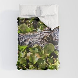 Black Brazilian Caiman Alligator Bathing Swamp  Pantanal, Brazil Comforters