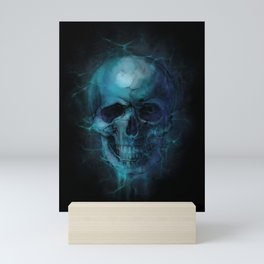 Blue Skull Watercolor Painting Blue Black Print Anatomical Art Medical Office Decor Doctor Gifts Mini Art Print