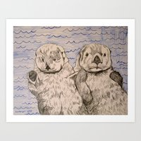 otters Art Prints featuring Otters by Caesarie
