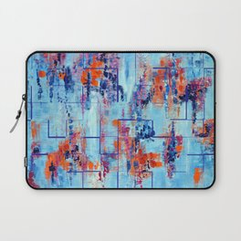 Blue Line Abstract Modern Acrylic Painting, Blue Home Decor Laptop Sleeve