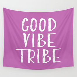 Good Vibe Tribe - Light Purple and White Wall Tapestry