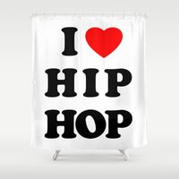 hip hop Shower Curtains featuring I love Hip Hop by Funky House